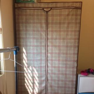 二手!組合鐵架衣櫥。90*45*180三層防塵衣櫥架-附布套。原價999