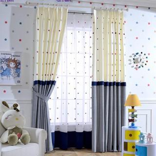 韓式星空兒童卡通風格拼接飄窗簾 臥室男生房定制成品窗簾布料xk