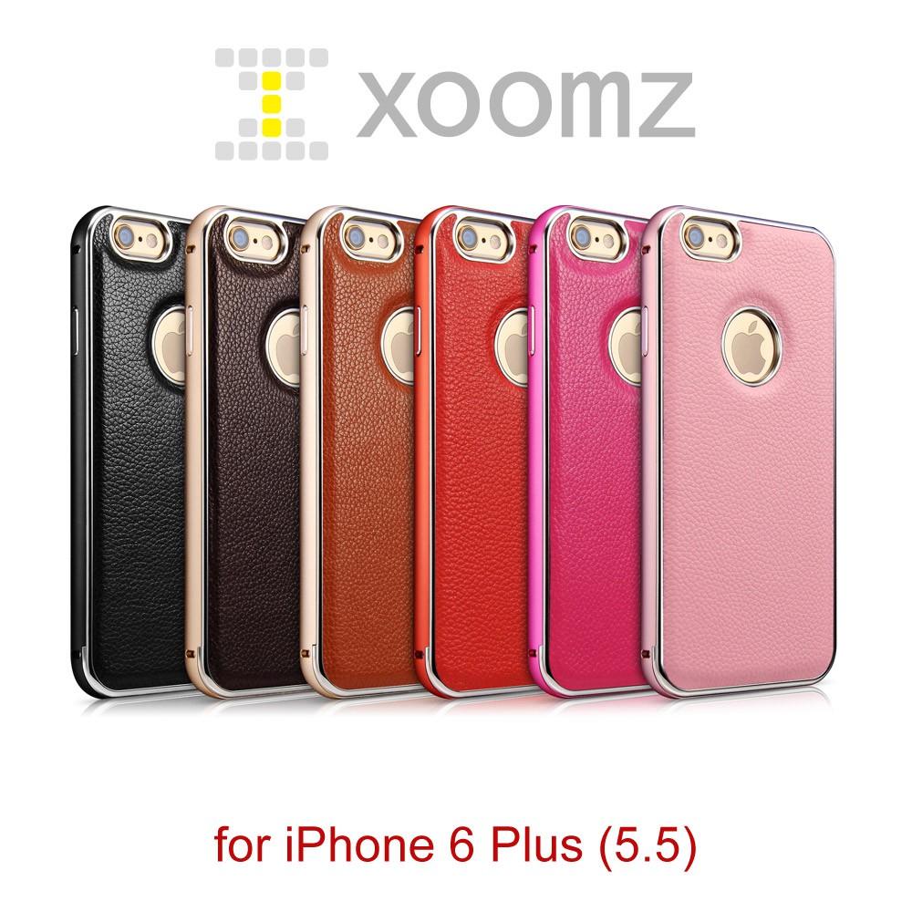 XOOMZ 經典荔枝 iPhone 6 Plus (5.5) 真皮背蓋 金屬保護邊框