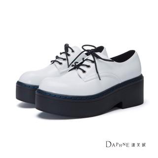 達芙妮DAPHNE 休閒鞋-亮面綁帶輕量厚底休閒鞋-白 22.5
