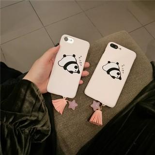 維尼小舖❤可愛卡通熊貓iphone7手機殼女款6s星星流蘇吊墜蘋果6plus磨砂硬殼