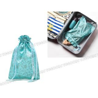 【台中好物】ASH 專櫃贈品 系列配品 tiffany綠花草植物系仿緞 束口袋 抽繩袋 旅行收納包 化妝包 行動電源包