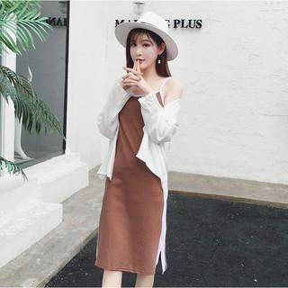 %23洋装%232017新款韓版時尚顯瘦拼色吊帶長裙+長袖連帽防曬襯衣兩件套裝女