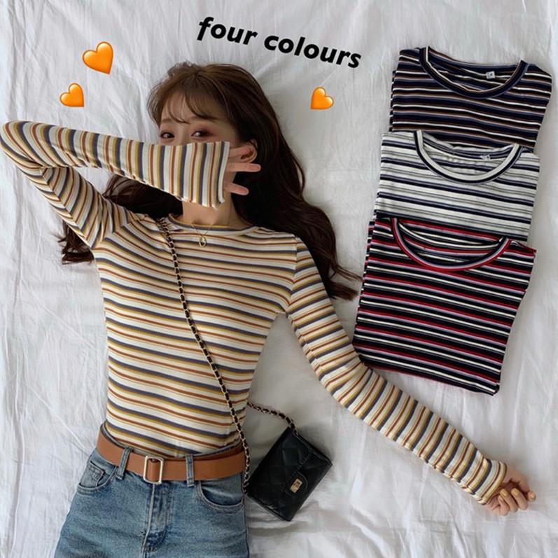 [免運]長袖針織衫 129023韓版修身彩虹條紋T恤上衣女