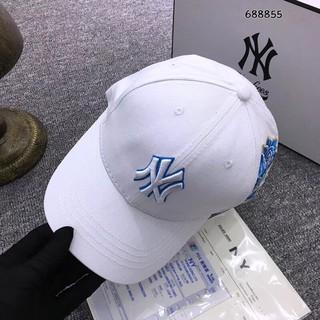 HH倍優 NY棒球帽玫瑰刺繡鴨舌帽情侶款平沿帽男女款