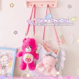 care bears彩虹熊背包挎包玩偶包軟妹包娃娃
