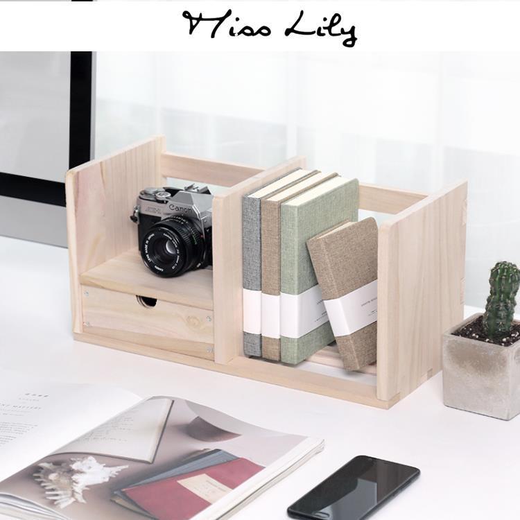 促銷品/創意收納簡約木質桌面書架簡易桌上小型電腦桌辦公置物架  igo/miss lily