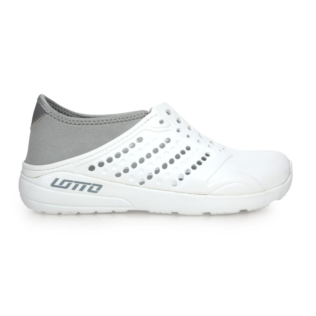 LOTTO 男女潮流洞洞鞋 (海邊 排水 水陸鞋 懶人鞋 白淺灰