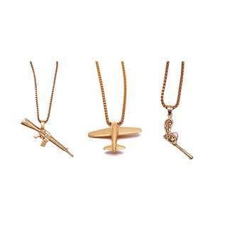 歐美流行飾品hiphop飛機槍吊墜項鏈 gun/plane pendant necklace
