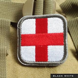 戰術醫療救護紅十字軍事戰術3D刺繡魔術貼臂章徽章軍迷補丁外套