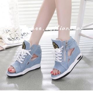 35-39牛仔布厚底楔型涼鞋(4色)
