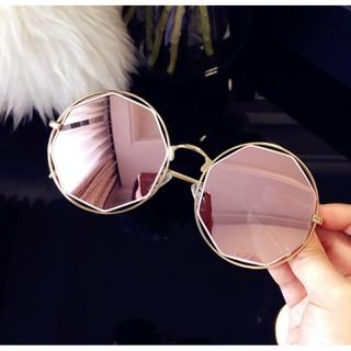 韓國墨鏡彩膜反光多邊形復古金屬鏤空圓形粉色復古大框圓臉潮男眼鏡反光太陽眼鏡女小圓框65