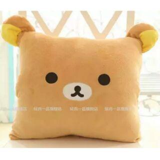 拉拉熊、橘紅底白兔三用暖手抱枕毯☆現貨供應☆
