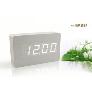 靜音鬧鐘創意夜光電子鐘床頭LED簡約萬年歷溫度木頭鐘禮物