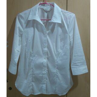 Net大尺碼合身白襯衫 七分袖 剪裁有腰線 八號白襯衫 面試上班族必備