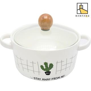 ~ ~半房火烈鳥雙耳陶瓷泡麵碗大號帶蓋拌麵碗家用可愛烤碗沙拉碗