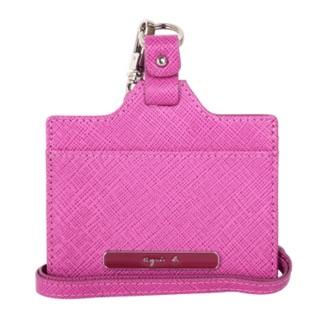 agnes b. voyage粉色Logo防刮皮革證件夾