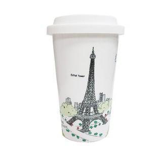Bella House 雙層隔熱陶瓷杯330ml 巴黎鐵塔 (1入) 馬克杯 隔熱杯 骨瓷杯 隨手杯 雙層杯 咖啡杯