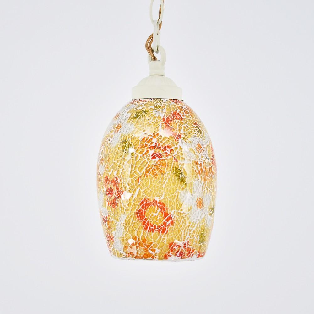 【DREAM LIGHTS】芬芳春菊裂紋玻璃彩繪餐廳吧臺中島小弔燈 手工彩繪玻璃燈飾
