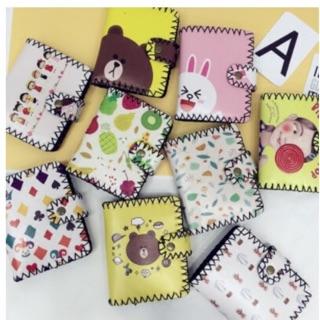 韓國 可愛塗鴉手工短夾 line 熊大 兔兔 小丸子 錢包 零錢包