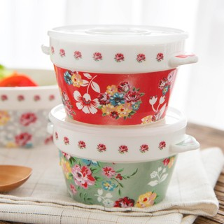 微波爐飯盒家用茶花保鮮盒圓形保鮮碗日本陶瓷甜品碗碎花雙耳碗