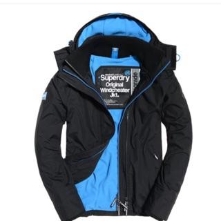 極度乾燥superdry防風外套內刷毛-藍色s號