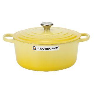 < 法國 Le Creuset > 圓形鑄鐵鍋 20cm 2.4L 黃色 (湯鍋 燉鍋 炒鍋皆可)