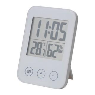 IKEA 白色多 時鐘溼度計溫度計可掛可立同時顯示時間、
