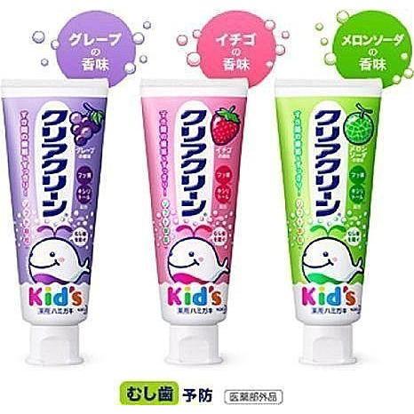 【美國媽咪】日本 KAO 兒童牙膏 原裝進口 哈密瓜 / 葡萄 / 草莓 臺中可面交