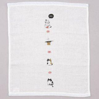 現貨-日本 今治產和風紗布手帕【貓咪】