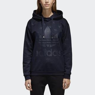 【路克球鞋小天地】愛迪達Adidas Originals 愛迪達 三葉草 深藍小草LOGO 連帽長t 帽T CD6919