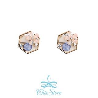 Chis Store ~六角花盤~韓國花朵小花六角形幾何拼接花束耳針耳環夾式耳環耳夾無