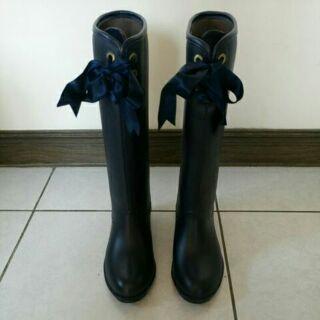 DIANA 甜美緞帶蝴蝶結雨靴 (藍23)