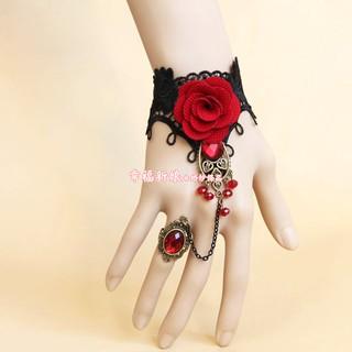 唯美復古紅布花朵黑色蕾絲銅飾紅寶石手指鍊 無指婚紗手套 佛朗明哥 肚皮舞手飾 現貨 一隻249