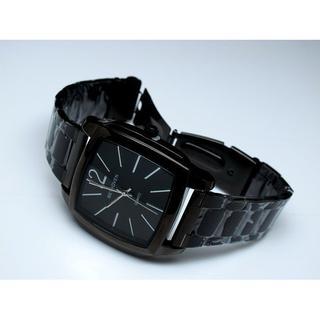 168錶帶配件~CK風格,BETHOVEN 潮流百搭 黑色方形TV簡約刻度.時尚中性錶-