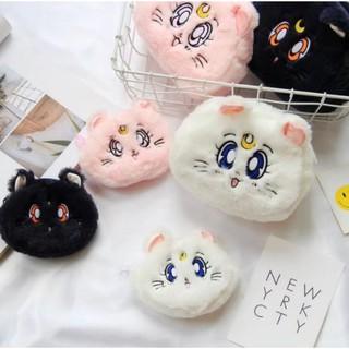 美少女戰士 貓咪露娜 阿提密斯絨毛化妝包 收納包 零錢包