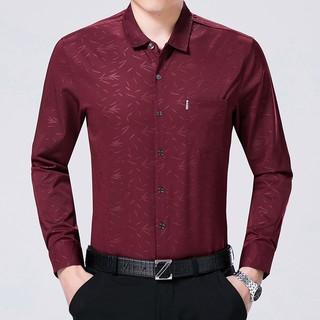 春秋新款男式印花長袖襯衫修身碎花印花商務男士紫色