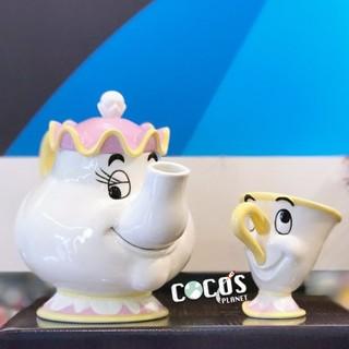 正版日貨 迪士尼杯子 美女與野獸 茶壺媽媽與小齊 阿奇杯 茶壺 杯子 造型茶具組 COCOS MS1300