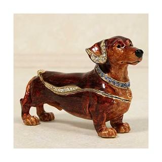 家居擺飾品_臘腸狗造型貼鑽小飾品收納盒_臘腸