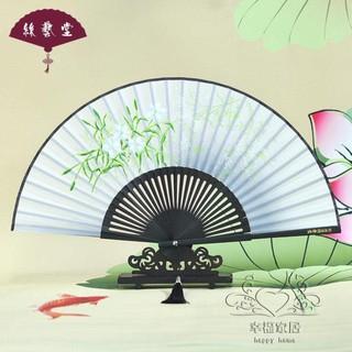 女式折扇夏季日式印花扇子古風絹扇絲綢布扇梅花