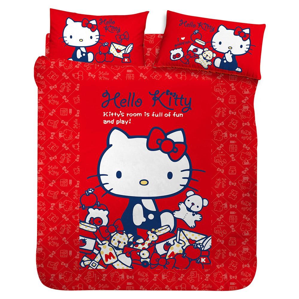床包涼被組-HELLO KITTY 我的遊戲房-粉.紅-單人雙人加大【享夢城堡】正版卡通授權MIT台灣精製