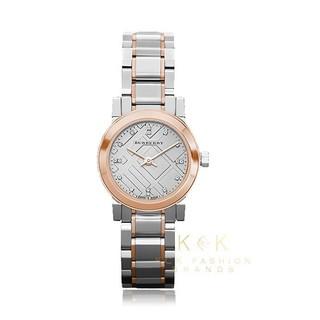 Burberry 巴寶莉 拼色鋼質錶鏈經典格紋壓花錶盤女石英腕錶 BU9214