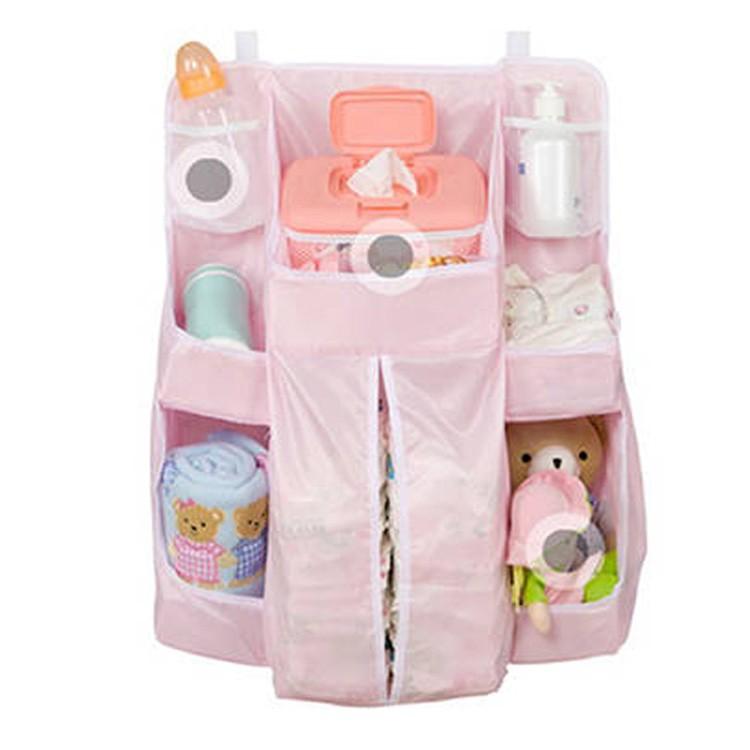 ※惜福品 嬰兒尿布收納掛袋-粉色 寶寶收納袋 奶瓶 乳液 酒精 濕紙巾 兒童睡袋 車用【H002】