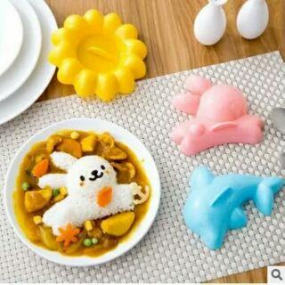 DIY飯糰模具 海豚兔子太陽花卡通4件套 製作壽司便當四件兒童套餐