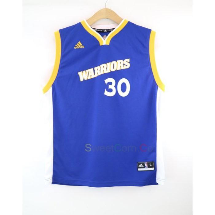 玉米潮流本舖 ADIDAS NBA WARRIORS 30號 CURRY 勇士 客場藍 燙印 青年版球衣