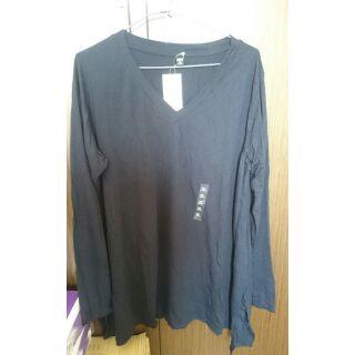 uniqlo 黑 垂墜風長版v領T恤 xl 99元