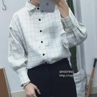 EASON SHOP(GU2864)格子長袖襯衫女上衣格紋防曬衫外套夏季韓男友風閨蜜裝