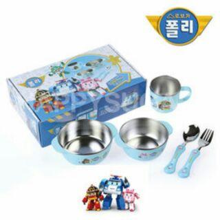 全新未拆封POLI 波力不鏽鋼餐具組(五件組) 兒童餐具練習碗