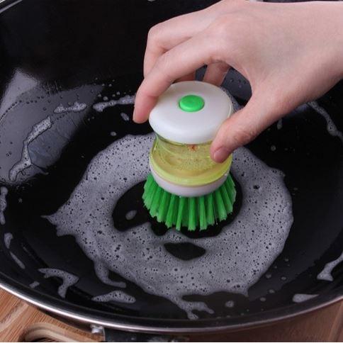 [Hare.D]按壓洗碗刷 便利洗鍋刷 按壓式洗碗精 廚房用品創意清潔刷(不挑色-隨機出貨)