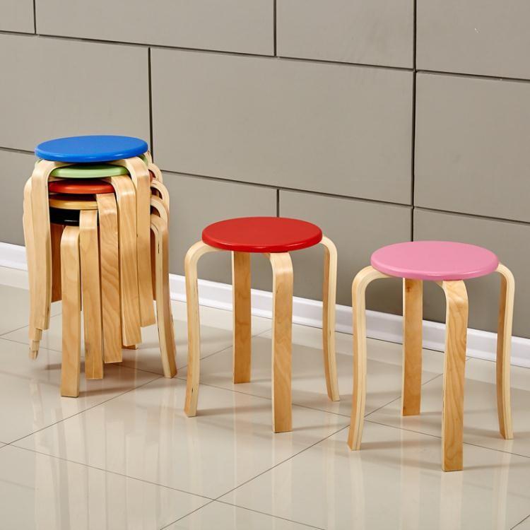 曲木圓凳簡約實木餐桌椅時尚創意家用矮凳子  沙發換鞋小板凳凳